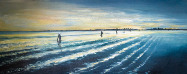 Venice lagoon at sunset painted by oil on a canvas.
