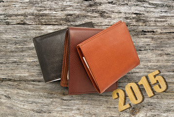 Several leather wallet