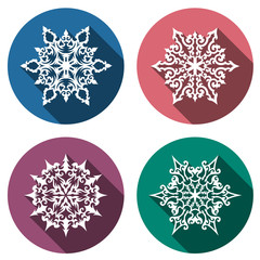 Set of decorative icons with snowflakes, flat design