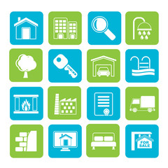 Silhouette Real Estate Icons - Vector Icon Set