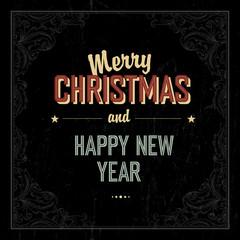 Vintage Merry Christmas Card Design. Vector