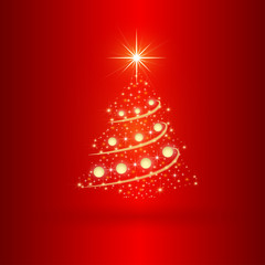 Nice  Christmas tree on the red background