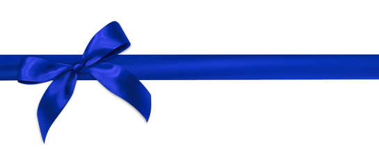 Blue gift ribbon on white background