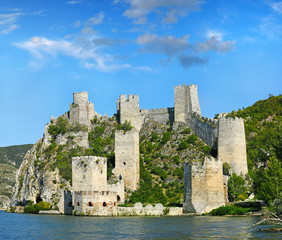 Old ruined Golubac fortress on Danube in Djerdap (Iron gates) NP
