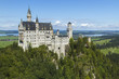 Obrazy na płótnie, fototapety, zdjęcia, fotoobrazy drukowane : Neuschwanstein Castle amongst green trees, Bavarian Alps.