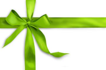 Green gift ribbon on white background