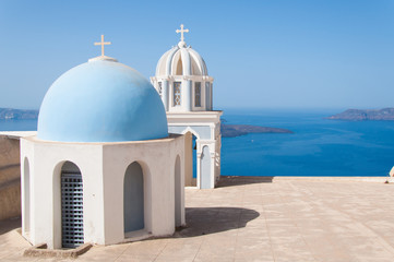 Church domes at Santorini Island, Greece