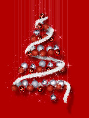Christmas Tree Made of Ornaments on Red Background