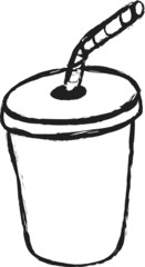 doodle blank plastic cup and straw