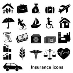 Icons-insurance-black-isolated-on-white-background
