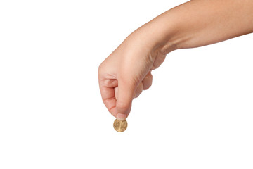 Ten Euro Cent coin in female hand isolated