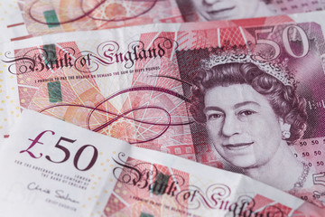 Uk currency Fifty pounds notes