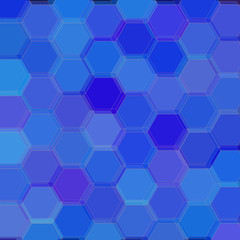 Background with blue hexagons. Raster