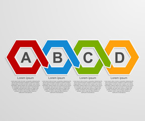 Abstract 3D paper hexagon infographics or timeline template.