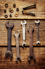 old tools, wrenches