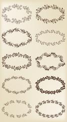 Set of design elements: vintage floral frames.