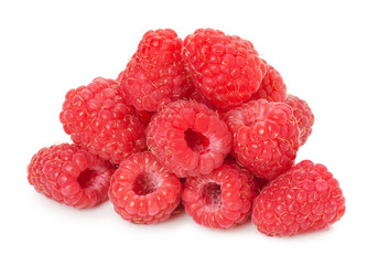 juicy raspberries isolated on the white background