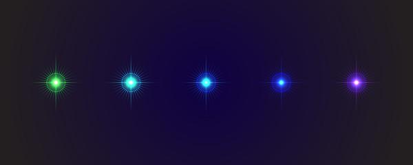 Five different stars on a dark blue background. Raster #5