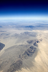 High altitude view of the desert in the western United States.