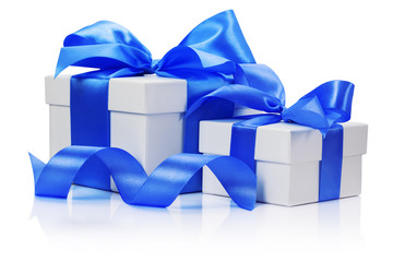 gift boxes with blue bow isolated on the white background