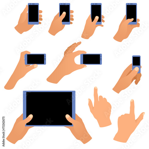 Collection of hands holding phone and tablet isolated on white - 73262675