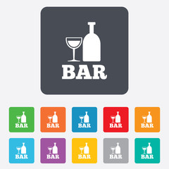 Bar or Pub sign icon. Wine bottle and Glass.