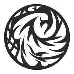 black tribal circle, vector illustration