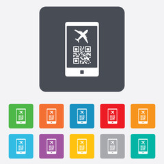 Boarding pass flight sign icon. Airport ticket.