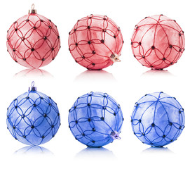 set of pink and blue Christmas balls isolated on the white backg