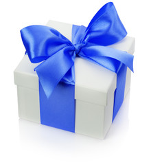 gift box with blue bow isolated on the white background