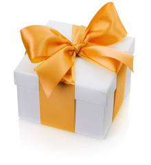 gift box with yellow bow isolated on the white background