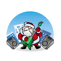 Дед Мороз Santa Claus  играет на гитаре