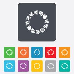 Jewelry sign icon. Diamonds circle symbol.