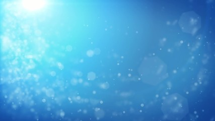 Abstract blue Christmas background with bokeh defocused lights