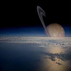 View from a satellite in orbit around a ringed planet.