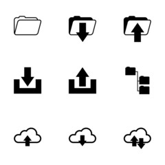 Vector black ftp icons set
