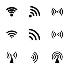 Vector black wireless icon set