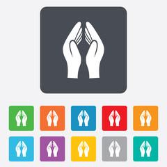 Pray hands sign icon. Religion priest symbol.