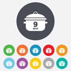 Boil 9 minutes. Cooking pan sign icon. Stew food