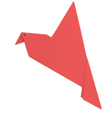 Origami red bird isolated over white