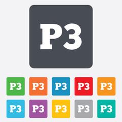 Parking third floor icon. Car parking P3 symbol