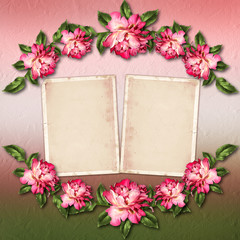 Beautiful painted rose with frames for congratulations or invita