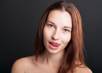 close-up portrait of tempting woman