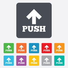 Push sign icon. Press arrow symbol