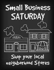 Small Business Saturday chalk board sign, support local stores
