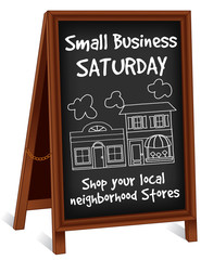 Sign, Small Business Saturday, folding chalk board easel frame
