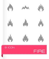 Vector black fire type icon set