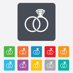 Wedding rings sign icon. Engagement symbol.