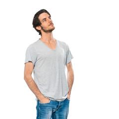 Mann blickt nach oben