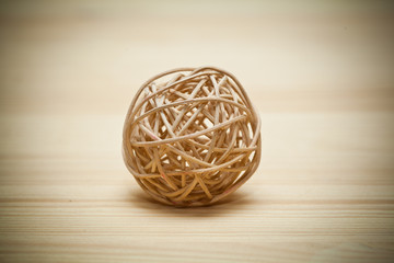 Woven wickerwork ball made from bamboo, reed or willow